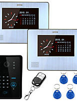ENNIO 7inch 900TVL Color Video Door Phone Intercom 2 monitors  with Record Keypad Remote Control Unlock