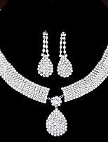 cheap -Women's Clear Synthetic Diamond Jewelry Set Drop Earrings Pendant Necklace Drop Teardrop Ladies Luxury Elegant Bridal Rhinestone Earrings Jewelry Set-Square / Set-Chain / Set-Heart For Wedding Party