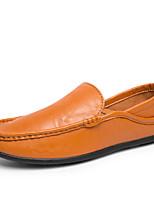 baratos -Homens sapatos Courino Primavera Outono Conforto Mocassins e Slip-Ons para Casual Escritório e Carreira Branco Preto Marron Azul