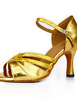 Women's Latin Synthetic Microfiber PU Heel Indoor Buckle High Heel Gold Bronze Customizable