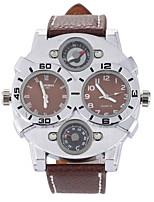 Недорогие -Муж. Кварцевый Наручные часы С двумя часовыми поясами Кожа Группа Кулоны Черный Белый Синий Красный Коричневый