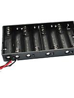 8 x aa boîtier de support de batteries avec des fils - noir (total 12v)