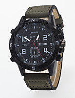 Men's Wrist watch Quartz / PU Band Casual Black Blue Brown Green Purple Khaki