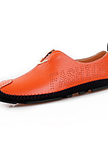 abordables -Hombre Zapatos Cuero Primavera Verano Zapatos De Buceo Confort Zapatos de taco bajo y Slip-On Poroso para Casual Negro Naranja Azul