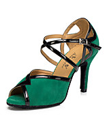 Women's Latin Suede Heel Indoor Buckle High Heel Black Red Green Customizable