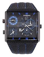 Недорогие -Муж. Наручные часы Кварцевый С двумя часовыми поясами Кожа Группа Черный Коричневый
