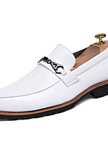 Men's Shoes Patent Leather Fall Winter Formal Shoes Loafers & Slip-Ons Lace-up For Casual Party & Evening Black White
