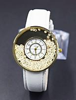abordables -Femme Montre Tendance Montre Diamant Simulation Montre Pavé Quartz Noir / Blanc Imitation de diamant Analogique-Numérique Fleur - Blanc Noir