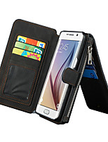 CASEME 2in1 Genuine Leather Multi-function Zipper Wallet Card Slot Case Cover for Samsung Galaxy S6 edge plus/S7/S7 edge