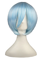 cheap -14inch Short Ice Blue Eva Ayanami Rei Synthetic Anime Cosplay Wig CS-001B