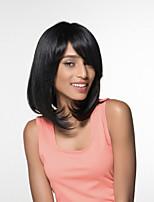 Недорогие -жен. Человеческие волосы без парики Черный Средний Естественные прямые Боковая часть