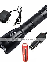 cheap -UltraFire LED Flashlights / Torch LED 2200/1000 lm 5 Mode LED with Battery and Chargers Adjustable Focus Rechargeable Waterproof