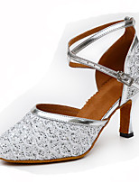 Women's Modern PU Glitter Heel Indoor Buckle Splicing Blue Silver Gold Customizable