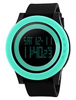 Недорогие -Муж. Спортивные часы Наручные часы Цифровой Стеганная ПУ кожа Черный 30 m Защита от влаги Будильник Календарь Цифровой Лиловый Розовый Зеленый / Секундомер / LED