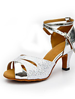 Women's Latin PU Suede Glitter Heel Indoor Buckle Splicing Blue Silver Customizable