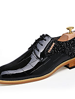 Men's Shoes Patent Leather Fall Winter Formal Shoes Oxfords Lace-up For Casual Party & Evening Red Black
