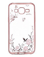 For Samsung Galaxy Case Plating / Transparent Case Back Cover Case Flower TPU Samsung J7 / J5 / J3