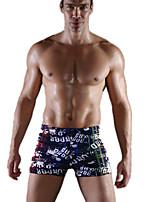 abordables -Hombre Elástico Estampado Letra y Número Medio Boxer,Poliéster Licra 1pc Azul Piscina
