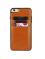 cheap -Case For Apple iPhone 6 iPhone 6 Plus Card Holder Back Cover Solid Color Hard PU Leather for iPhone 6s Plus iPhone 6s iPhone 6 Plus