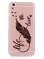 baratos -Capinha Para Apple iPhone 6 iPhone 6 Plus Transparente Estampada Capa traseira Penas Macia TPU para iPhone 6s Plus iPhone 6s iPhone 6