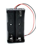 2-slot caixa de titular caso diy 18650 w / leads - preto