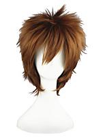 Недорогие -Искусственные волосы парики Прямой силуэт Без шапочки-основы Парики для косплей 13 см Коричневый