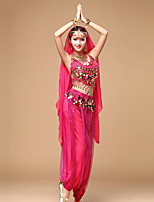 Shall We Belly Dance Outfits Women's Performance Chiffon Sleeveless Dropped Tops Pants Waist Accessory