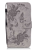 Butterfly Flower Color Double-sided Embossed Card Holder Lanyard PU Phone Case for Galaxy Grand Prime G530/J5(2016)
