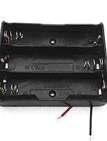 3-Slot 3.7V 18650 Battery Holder Case Box w/ Leads – Black