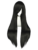 Women Synthetic Wig Capless Long Straight Black Braided Wig Cosplay Wig Costume Wig
