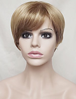 Women Synthetic Wig Capless Short Straight Strawberry Blonde/Bleach Blonde Highlighted/Balayage Hair Layered Haircut With Bangs Party Wig