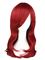 cheap -22inch medium long naruto uzumaki karin wine red synthetic anime cosplay wig cs-026b