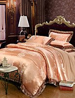 cheap -Duvet Cover Sets Floral Luxury 4 Piece 100% Tencel Jacquard 100% Tencel 2pcs Shams 1pc Sham 1pc Flat Sheet