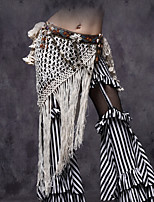 Belly Dance Hip Scarves Women's Performance Shell Viscose Tassel Coin Sequins Hip Scarf