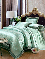 cheap -Duvet Cover Sets Floral 4 Piece 100% Tencel Jacquard 100% Tencel 2pcs Shams 1pc Sham 1pc Flat Sheet