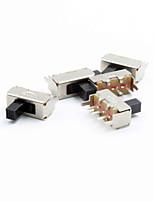 12 mm de 3 polos interruptor de palanca - plata (5pcs)