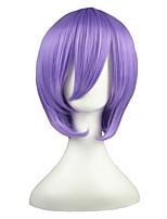 abordables -Femme Perruque Synthétique Court Droit crépu Violet Coupe Carré Perruque de Cosplay Perruque Déguisement