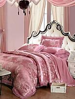 cheap -Duvet Cover Sets Floral 4 Piece 100% Tencel Jacquard 100% Tencel 2pcs Shams 1pc Sham 1pc Flat Sheet