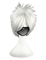 cheap -14inch Short Silver Gray Naruto Hatake Kakashi Synthetic Anime Cosplay Wig CS-007A
