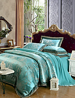 cheap -Duvet Cover Sets Luxury 4 Piece Modal Tencel Jacquard Modal Tencel 2pcs Shams 1pc Sham 1pc Flat Sheet