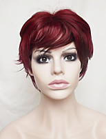 Women Synthetic Wig Capless Short Wavy Burgundy With Bangs Party Wig Halloween Wig Natural Wigs Costume Wig