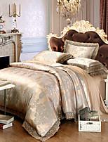 cheap -Duvet Cover Sets Floral Luxury 4 Piece 100% Tencel Jacquard 100% Tencel 2pcs Shams 1pc Sham 1pc Flat Sheet