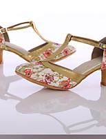 Women's Latin Silk Heel Indoor Customized Heel Red Customizable