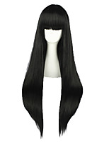 Women Synthetic Wig Capless Long Kinky Straight Black Natural Hairline Cosplay Wig Costume Wig