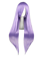 Women Synthetic Wig Capless Long Kinky Straight Purple Braided Wig Cosplay Wig Costume Wig