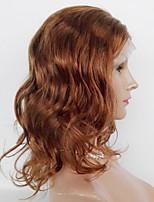 economico -Donna Parrucche di capelli umani con retina Euroasiatico Cappelli veri Lace frontale 130% Densità Ondulato naturale Parrucca Nero jet