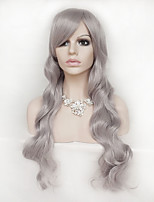 Women Synthetic Wig Capless Long Wavy Natural Wave Grey With Bangs Party Wig Halloween Wig Natural Wigs Costume Wig