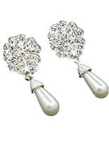 Per donna Orecchini a goccia Perle finte Strass Fantasia floreale Perla grigia A forma di fiore goccia Gioielli Per Feste Appuntamento