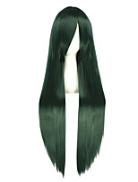 Women Synthetic Wig Capless Long Kinky Straight Black/Dark Green Cosplay Wig Costume Wig