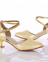 Women's Latin Leatherette Heel Indoor Customized Heel Gold Customizable